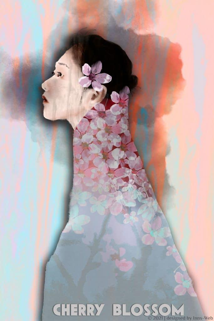 Kirschblüten Japanerin Illustration